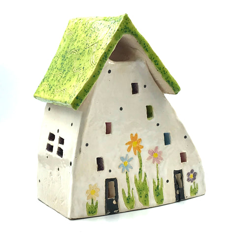 Ceramic House Lantern in White with Flowers