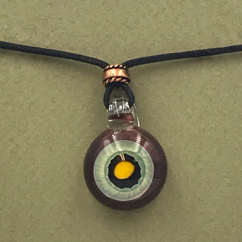 Dichroic Glass Pendant with Red, Sage and Yellow Colours