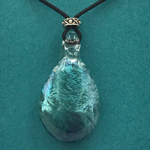 Dichroic Glass Pendant with Clear and Sparkling Turquoise Colours