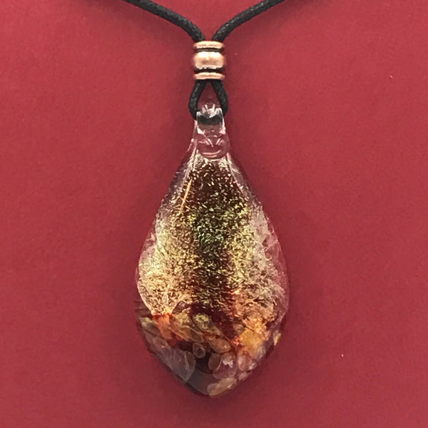 Dichroic Glass Pendant with Clear and Shimmering Red Colours