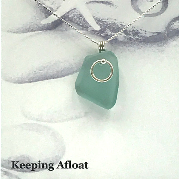 Glass Fishing Float with Sterling Silver Circle Pendant Necklace