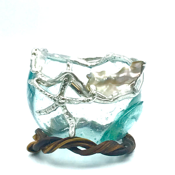 Glass Fishing Float Ball Small Candle Holder with Starfish and Shell