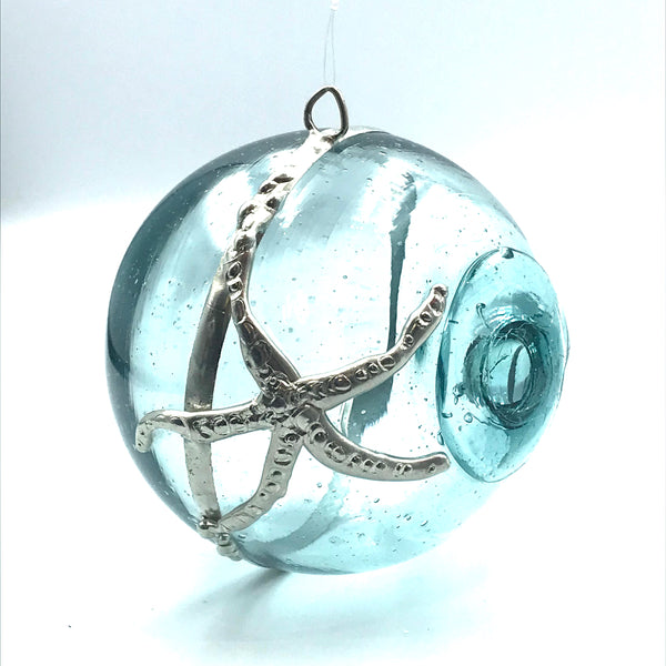 Glass fishing float large ball hanging with sea star