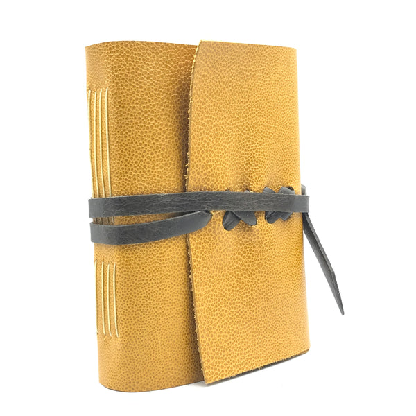 Small Leather Bound Journal, Mustard Yellow with Brown Strap