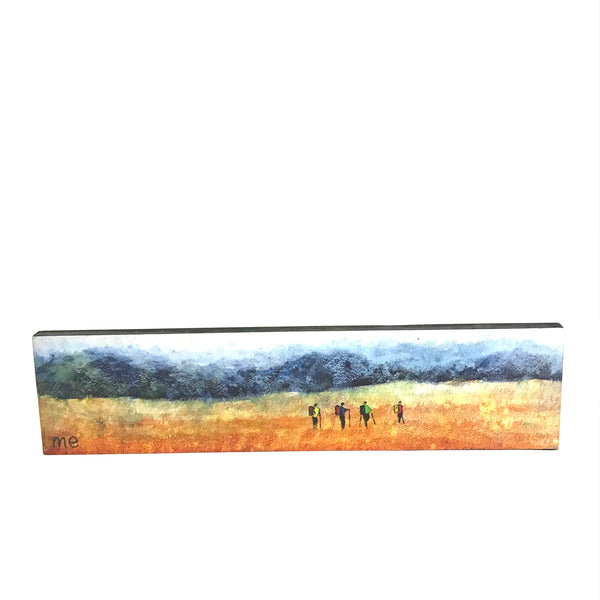 "Block Mount Hikers Blue Mountains in the Distance  "" 3"" x 12"""