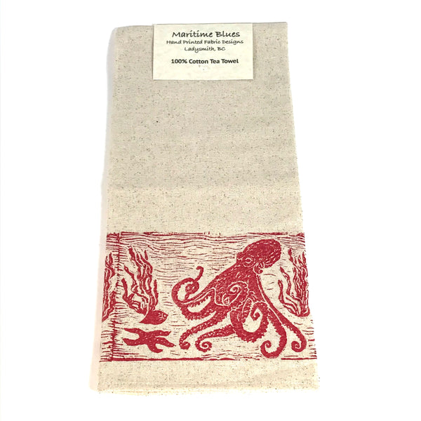 Tea Towel with Red Octopus Print Design