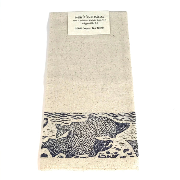 Tea Towel with Linoleum Block Print Design