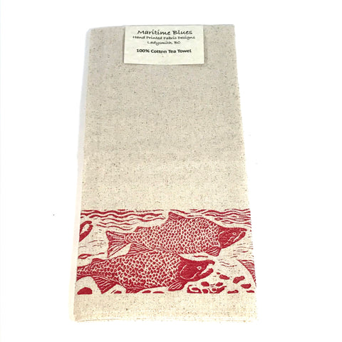 Tea Towel with Red Sockeye Print Design