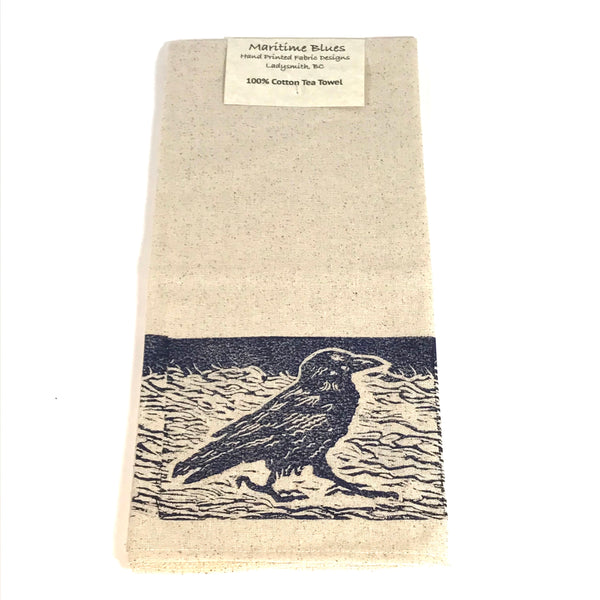 Tea Towel with Blue Raven Print Design