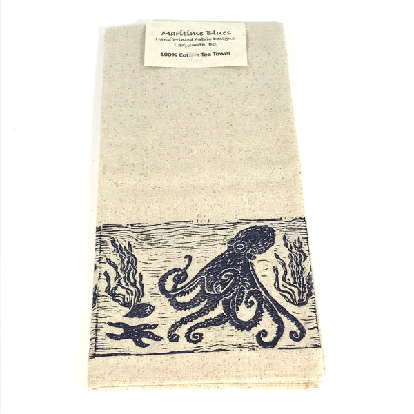 Tea Towel with Blue Octopus Print Design