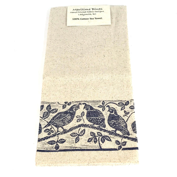 Tea Towel with Blue Quail Print Design