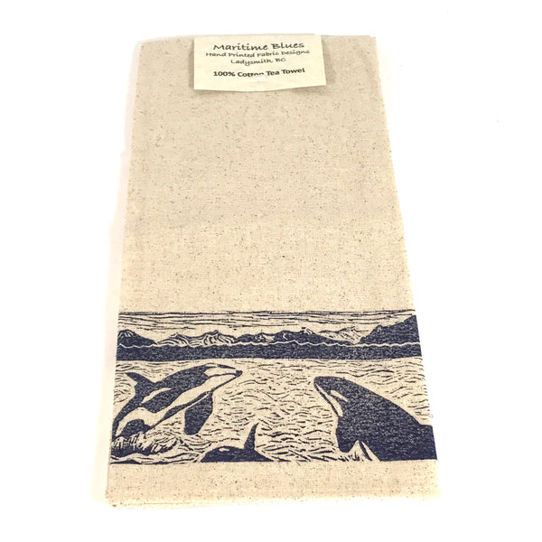 Tea Towel with Blue Orca Print Design