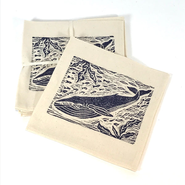 Napkin Set of 4 with Blue Whale Print Design