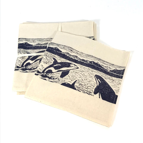 Napkin Set of 4 with Blue Orca Pod Print Design