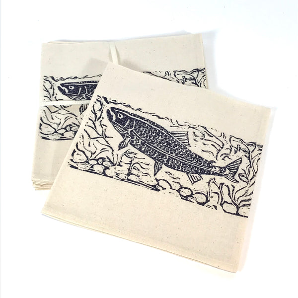 Napkin Set of 4 with Blue Salmon Print Design