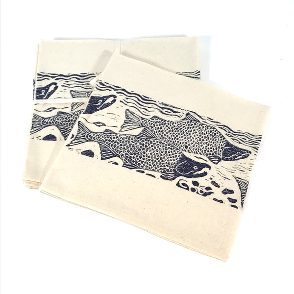 Napkin Set of 4 with Blue Sockeye Print Design