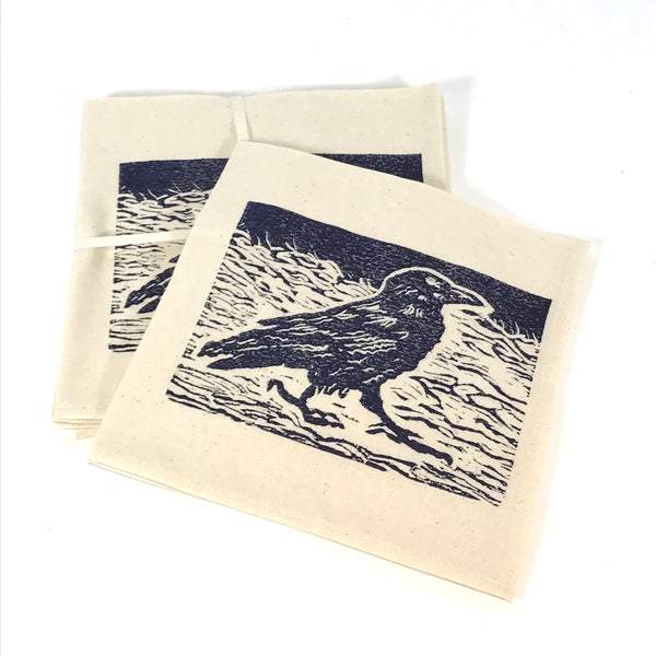 Napkin Set of 4 with Blue Raven Print Design