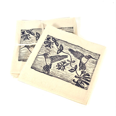 Napkin Set of 4 with Blue Hummingbird Print Design