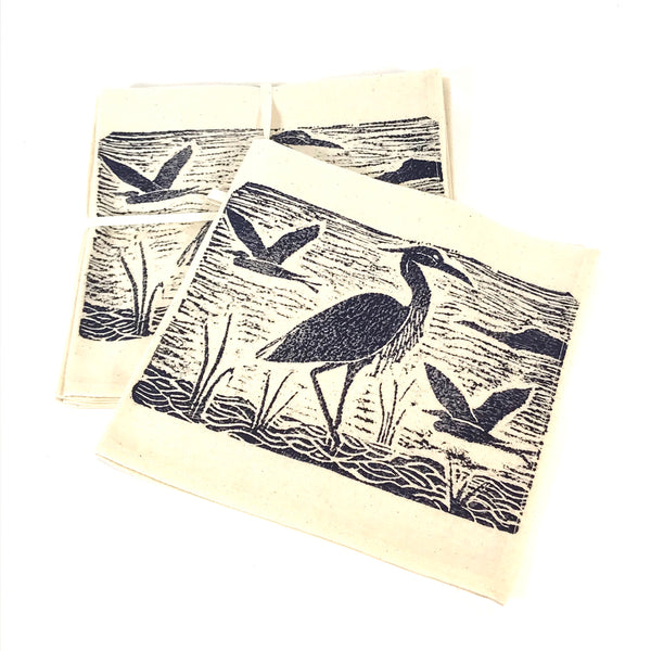 Napkin Set of 4 with Blue Heron Print Design