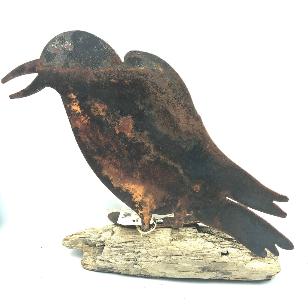 Rusted Steel Bird on Driftwood Freestanding, 9 x 8 3/4 inches