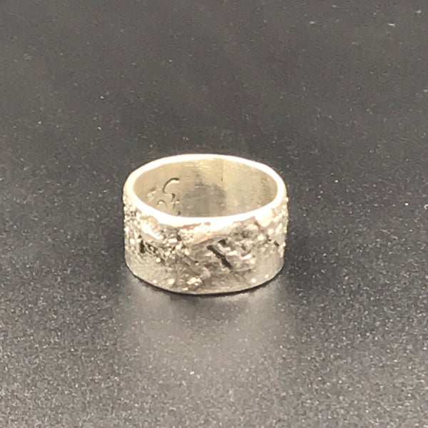 Reticulated Sterling Silver Ring, Size 7