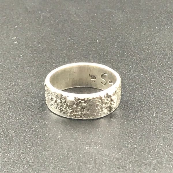 Reticulated Sterling Silver Ring, Size 7 1/2