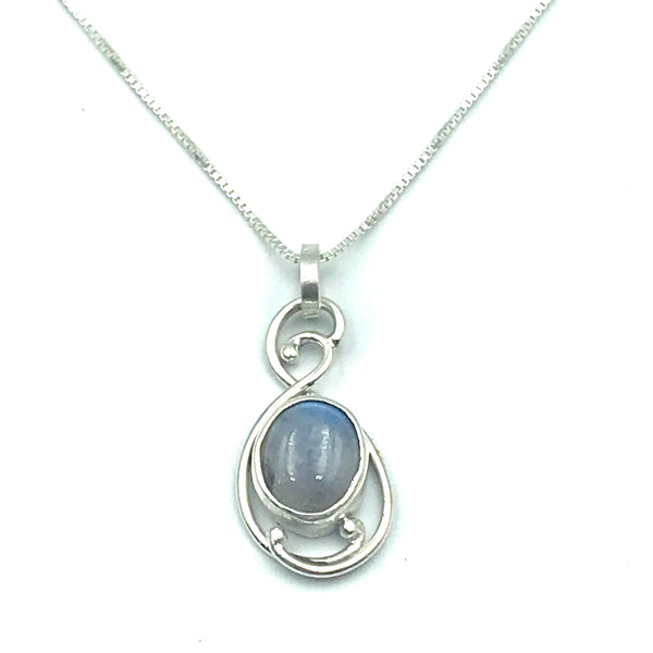 Sterling Silver with Rainbow Moonstone Pendant Necklace