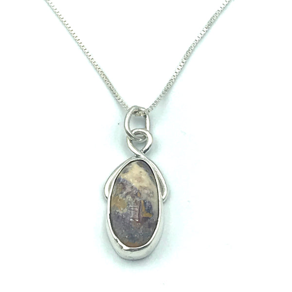 Sterling Silver with Painted Blanket Jasper Pendant Necklace