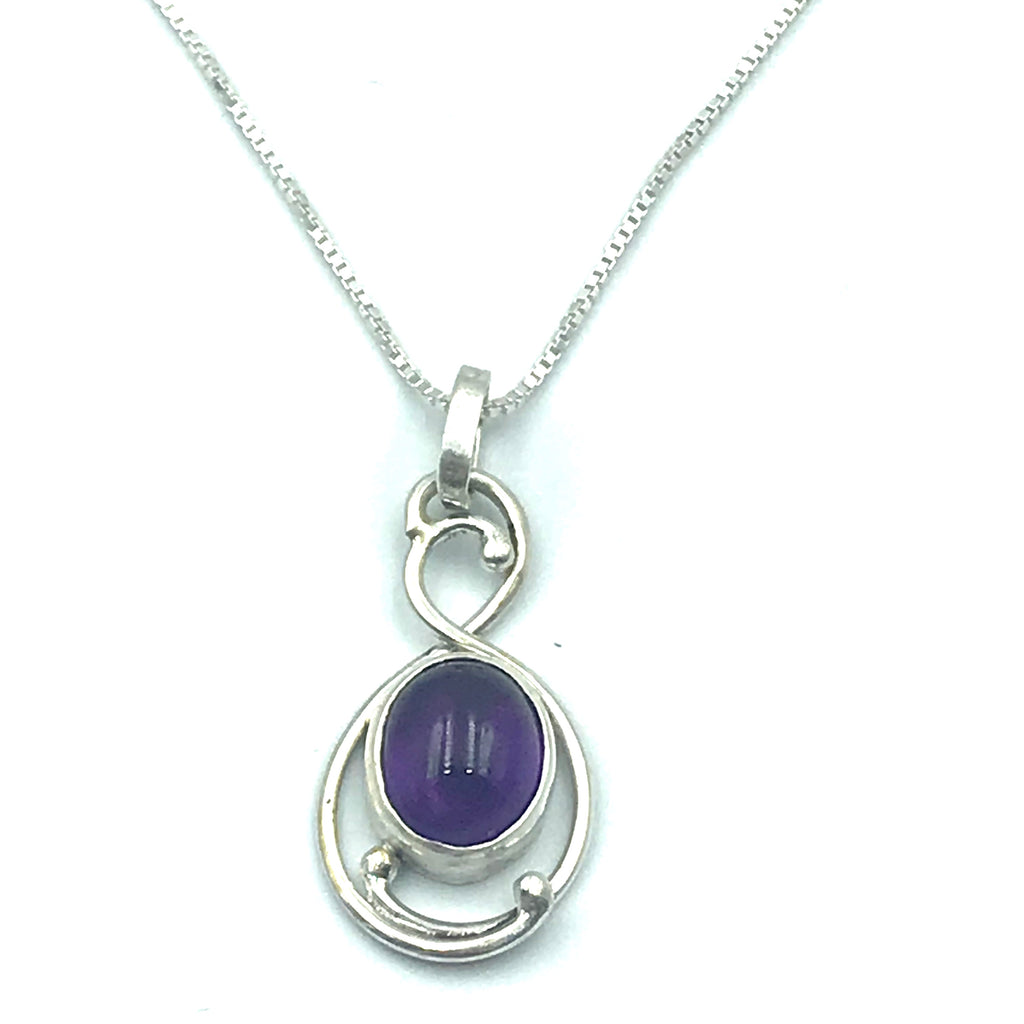 Sterling Silver with Amethyst Pendant Necklace