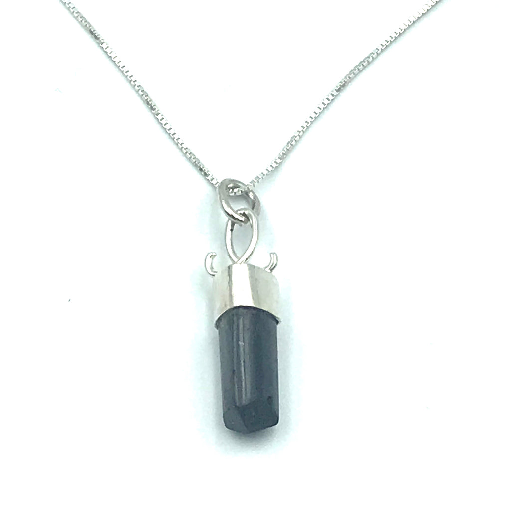 Sterling Silver with Black Tourmaline Polished Crystal Pendant Necklace