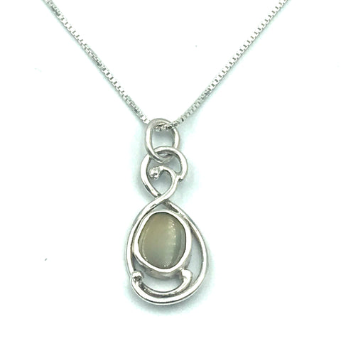 Sterling Silver with Opal Pendant Necklace