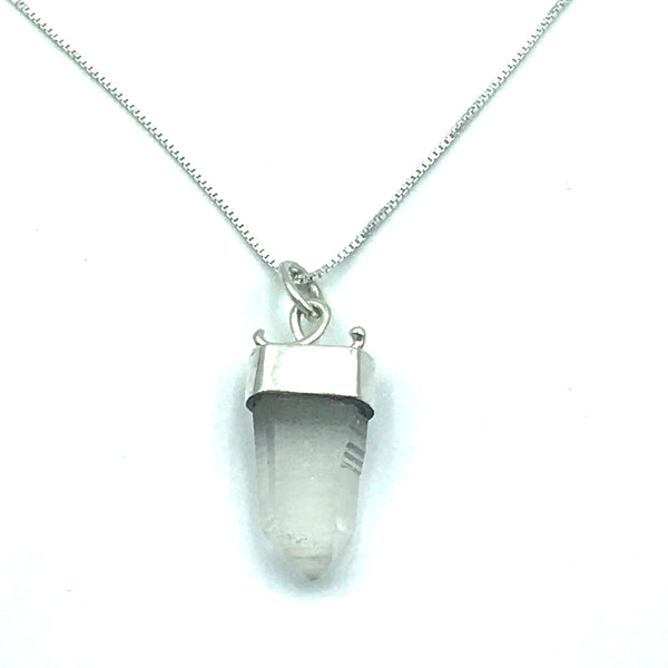 Sterling Silver with Quartz Crystal Pendant Necklace