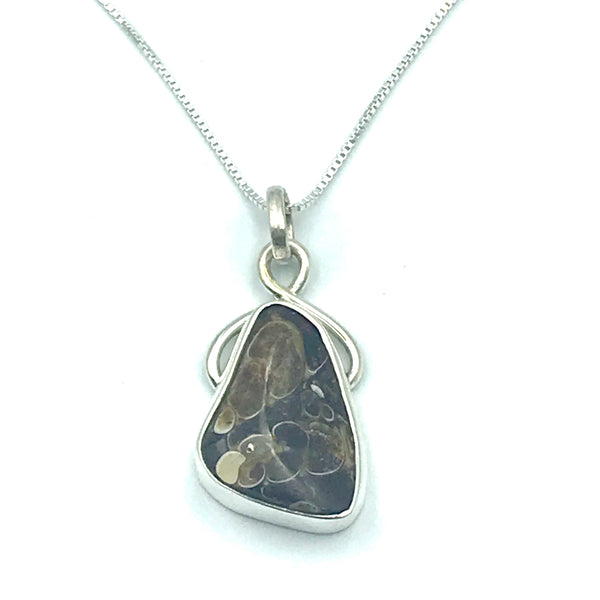 Sterling Silver with Turitella Agate, Fossil Snail Pendant Necklace