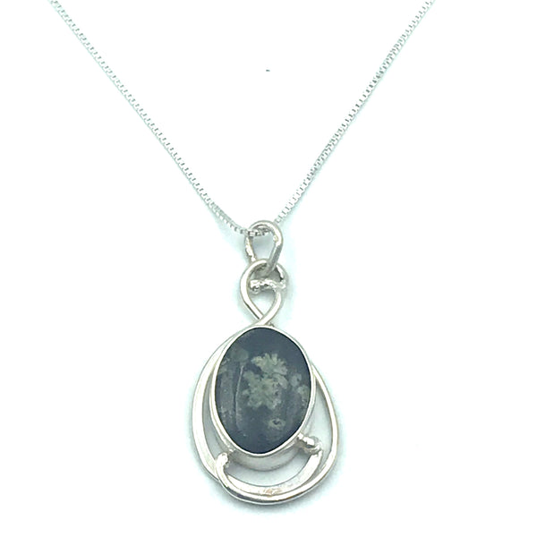 Sterling Silver with Vancouver Island Flower Rock Pendant Necklace