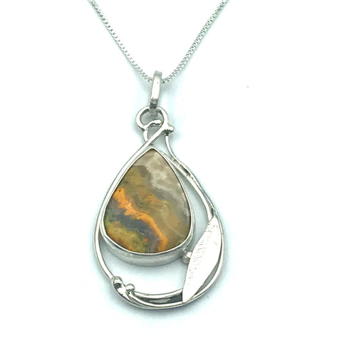 Sterling Silver with Bumble Bee Jasper Pendant Necklace
