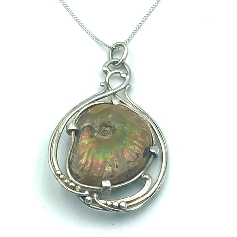 Sterling Silver with Madagascar Ammonite Fossil Pendant Necklace