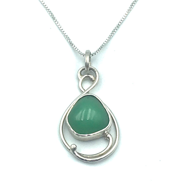 Sterling Silver with Chrysoprase Pendant Necklace