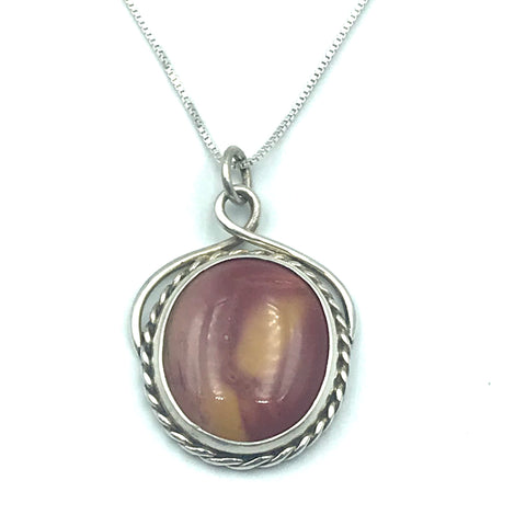 Sterling Silver with Moakite Jasper Pendant Necklace