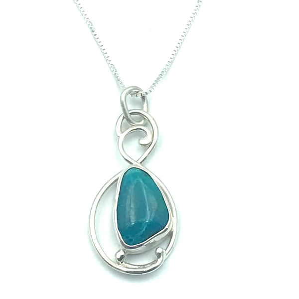 Sterling Silver with Chrysocolla Pendant Necklace
