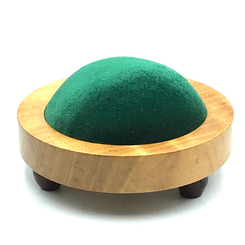 Large Cherry Wood Pin Cushion, Green