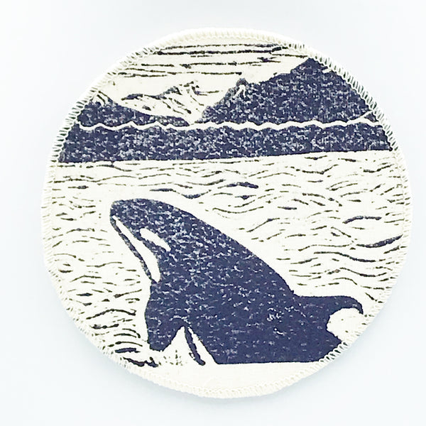 Coaster with Linoleum Block Print Design
