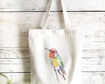 Hummingbird Pink Head Tote Bag by Emma Pyle Art