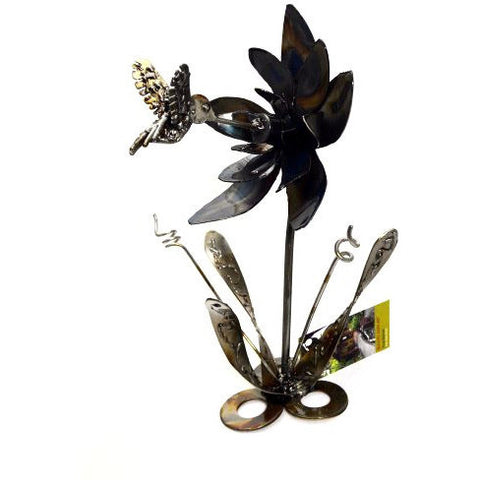 STEEL HUMMINGBIRD & FLOWER - Side Street Studio  - 1