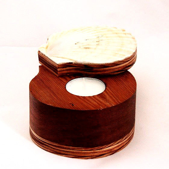 SCALLOP SHELL BOX TEA LIGHT HOLDER - Side Street Studio