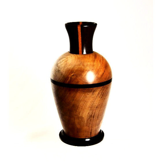 WESTERN MAPLE WOOD VASE WITH WENGE WOOD NECK - Side Street Studio
