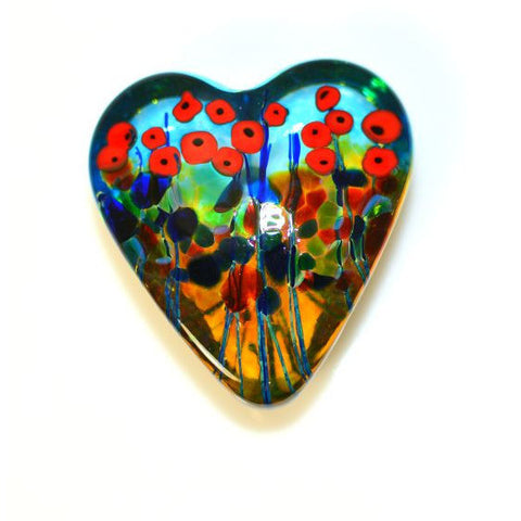 California Poppy Glass Small Heart Paperweight - Side Street Studio
