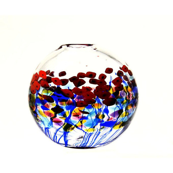 CLEAR POPPY ROUND FLAT GLASS VASE - Side Street Studio