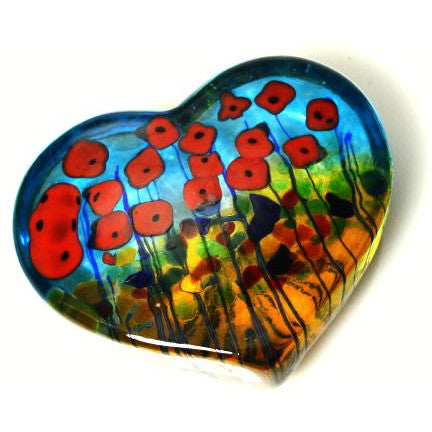 California Poppy glass heart paperweight - Side Street Studio - 1