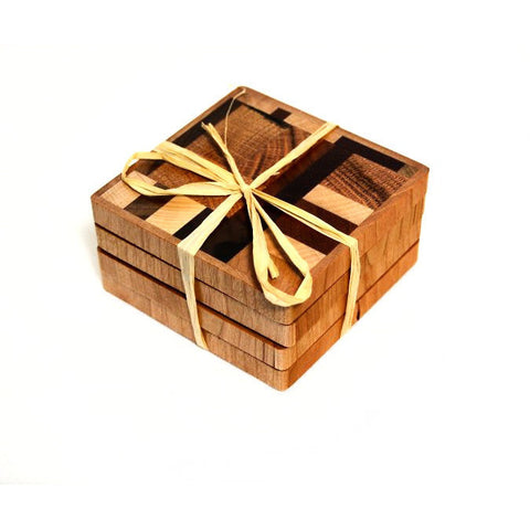 SET 4  HAND MADE WOODEN COASTERS - Side Street Studio