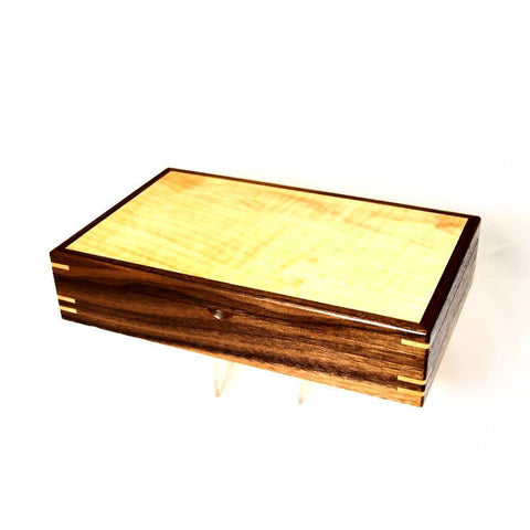 BROADLEAF MAPLE AND BLACK WALNUT JEWELLERY BOX - Side Street Studio - 1